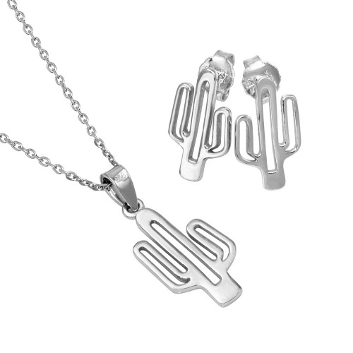 Wholesale Sterling Silver 925 Rhodium Plated Outline Cactus Set - SOS00006