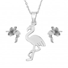 Wholesale Sterling Silver 925 Rhodium Plated Flamingo Set - SOS00007