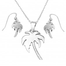 Wholesale Sterling Silver 925 Rhodium Plated Palm Tree Set - SOS00009