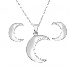 Wholesale Sterling Silver 925 Rhodium Plated Crescent Set - SOS00010