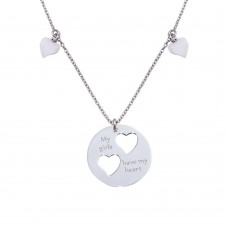 "Wholesale Sterling Silver 925 Rhodium Plated Flat Round Engraved ""My girls have my heart"" Pendant Necklace with Cut-out Hearts - SOS00011"