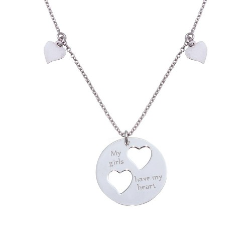"""Wholesale Sterling Silver 925 Rhodium Plated Flat Round Engraved """"My girls have my heart"""" Pendant Necklace with Cut-out Hearts - SOS00011"""