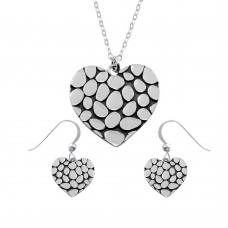 Wholesale Sterling Silver 925 Rhodium Plated Mosaic Design Heart Set - SOS00013