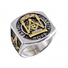 Wholesale Stainless Steel Tri-Colored Masonic Men's Ring - SRN077