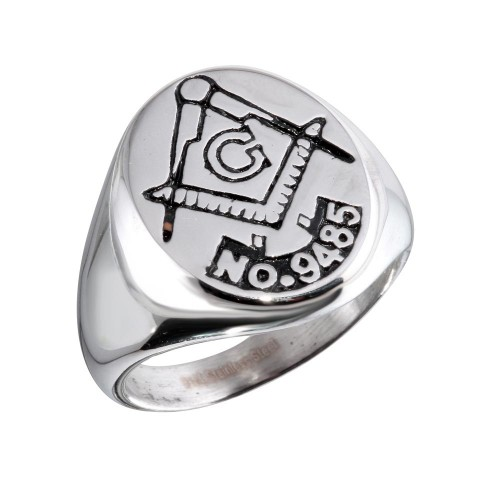 Wholesale Stainless Steel Plated Round Masonic Ring - SRN078