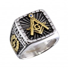 Wholesale Stainless Steel Tri-Colored Square Masonic Ring - SRN079