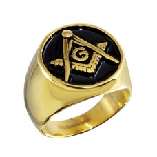 Wholesale Stainless Steel Two-Toned Round Masonic Ring - SRN083