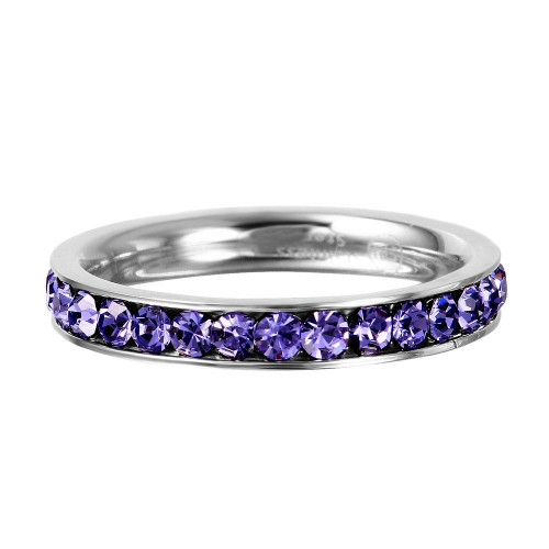 Wholesale Stainless Steel CZ Eternity Band February - SSR15FEB