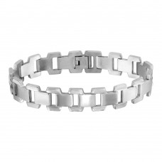 Wholesale Stainless Steel Matte and High Polished Link Bracelet - SSB00262