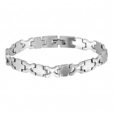 Wholesale Stainless Steel Matte Cross and High Polished X Pattern Link Bracelet - SSB00266