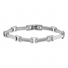 Wholesale Stainless Steel Matte and High Polished Long Bar Link Bracelet - SSB00273