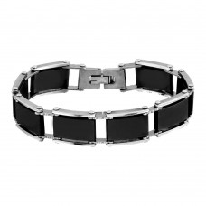 Wholesale Stainless Steel and Black Rubber Link Bracelet - SSB00274