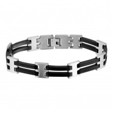 Wholesale Stainless Steel Matte and Black Rubber Link Bracelet - SSB00276