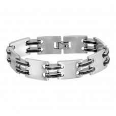 Wholesale Stainless Steel Matte and Black Rubber Link Bracelet - SSB00277