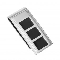 Stainless Steel Rhodium and Black Plated Three Square Money Clip - SSM00003