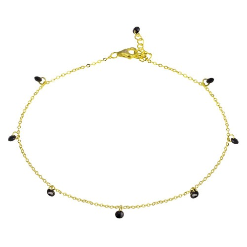 Wholesale Sterling Silver 925 Gold Plated Dangling Black CZ Anklet - STA00572GP