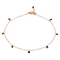 Wholesale Sterling Silver 925 Rose Gold Plated Dangling Black CZ Anklet - STA00572RGP