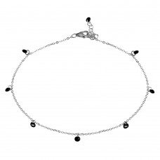 Wholesale Sterling Silver 925 Rhodium Plated Dangling Black CZ Anklet - STA00572RH