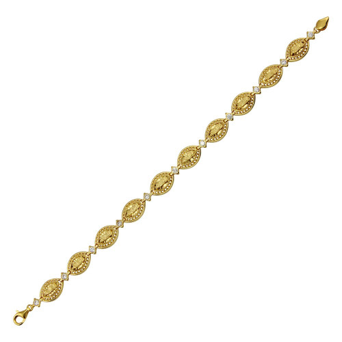 Wholesale Sterling Silver 925 Gold Plated Oval CZ Mary Link Tennis Bracelet - GMB00063GP