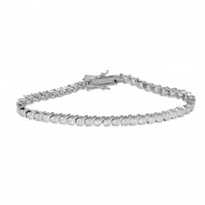 Sterling Silver Rhodium Plated Clear CZ Tennis Bracelet - STB00078