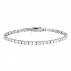 Sterling Silver Rhodium Plated Clear CZ Tennis Bracelet - STB00008
