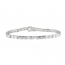 Sterling Silver Rhodium Plated Clear Baguette CZ Tennis Bracelet - STB00014