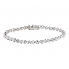 Sterling Silver Rhodium Plated Clear Round CZ Tennis Bracelet - STB00016