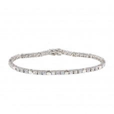 Sterling Silver Rhodium Plated Clear CZ Tennis Bracelet - STB00017