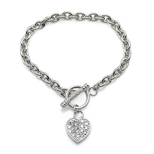 Wholesale Sterling Silver 925 Rhodium Plated Clear CZ Heart Bracelet - STB00026