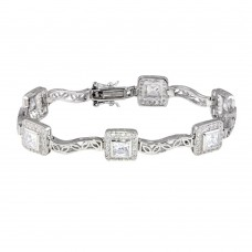 Sterling Silver Rhodium Plated Clear Round and Square CZ Bracelet - STB00033