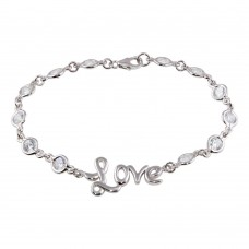 Sterling Silver Rhodium Plated Clear CZ Love Bracelet - STB00041