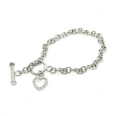 Wholesale Sterling Silver 925 Rhodium Plated Clear CZ Open Heart Bracelet - STB00059