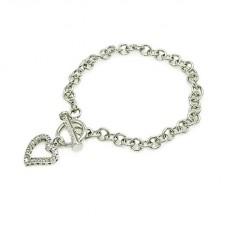 **Closeout** Wholesale Sterling Silver 925 Rhodium Plated Open Toggle CZ Heart Link Bracelet - STB00060