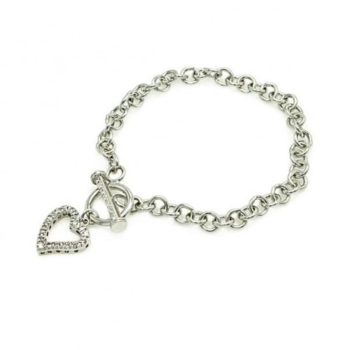-Closeout Items- Wholesale Sterling Silver 925 Rhodium Plated Open Toggle CZ Heart Link Bracelet - STB00060