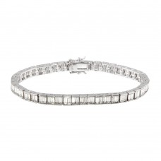 Sterling Silver Rhodium Plated Clear Baguette CZ Tennis Bracelet - STB00064