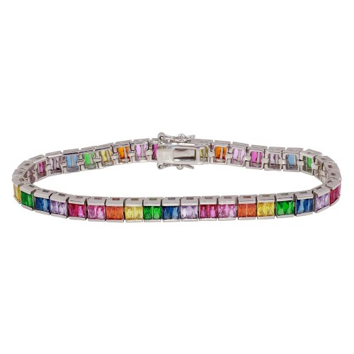Wholesale Sterling Silver 925 Rhodium Plated Multi-Colored Square CZ Tennis Bracelet - STB00064RB