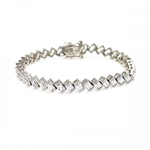-Closeout- Wholesale Sterling Silver 925 Rhodium Plated Angled Clear Baguette CZ Tennis Bracelet - STB00069