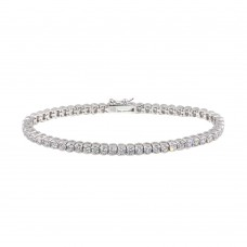 Sterling Silver Rhodium Plated Clear CZ Bubble Tennis Bracelet - STB00092