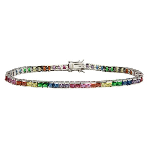 Wholesale Sterling Silver 925 Rhodium Plated Square Rainbow CZ Tennis Bracelet - STB00094RB