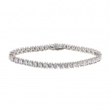 Sterling Silver Rhodium Plated Clear CZ Tennis Bracelet - STB00104