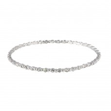 Wholesale Sterling Silver 925 Rhodium Plated Round Clear CZ Bangle Bracelet - STB00109