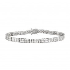 Sterling Silver Rhodium Plated 4 Row Square Tennis Bracelet - STB00137