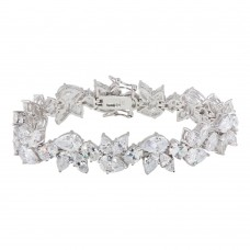 Sterling Silver Rhodium Plated Flower Clear CZ Bracelet - STB00148