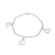 Wholesale Sterling Silver 925 Rhodium Plated Open Multi Heart Clear CZ Bracelet - STB00156