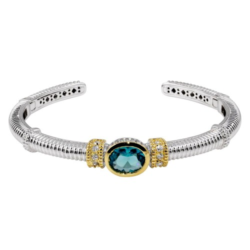 Wholesale Sterling Silver 925 Rhodium Plated Open Cuff Bangle with Turquoise CZ - STB00180