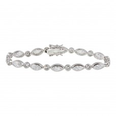 Sterling Silver Rhodium Plated Clear Round and Marquise CZ Tennis Bracelet - STB00241