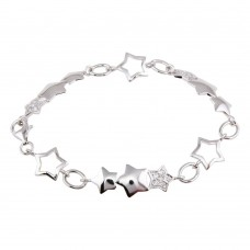 Sterling Silver Rhodium Plated Multi Star Clear CZ Bracelet - STB00267