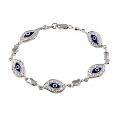 Sterling Silver Rhodium Plated Evil Eye Clear CZ Bracelet - STB00272