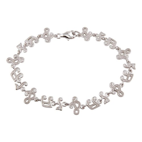 Wholesale Sterling Silver 925 Rhodium Plated Music Note Tennis CZ Bracelet - STB00302