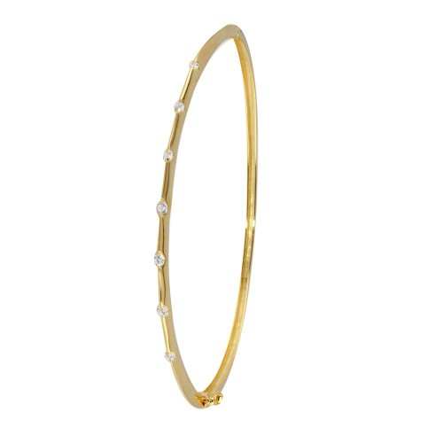 Wholesale Sterling Silver 925 Gold Plated Clear CZ Bangle Bracelet - STB00339GP